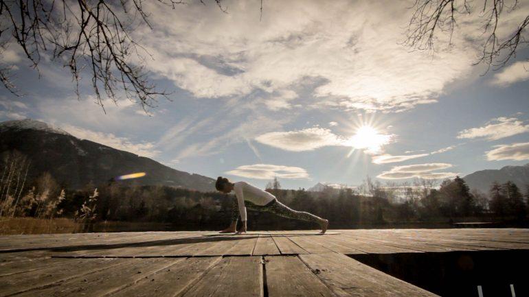 Woman in Yoga Pose, Pilates Pose, Innsbruck